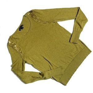 Banana Republic Green Sweater wth Sequin Shoulders